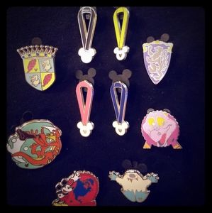 Lot of 10 Disney Trading Pins-Medals, shields&more